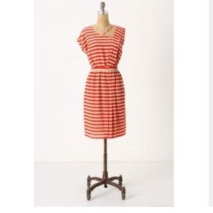 Leifsdottir Red Beige Striped Silk Dress Womens  8